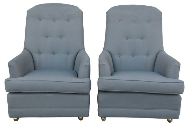 Vintage Gray Upholstered Armchairs, Pair