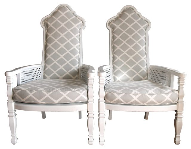 White  Armchairs w/ Caning, Pair