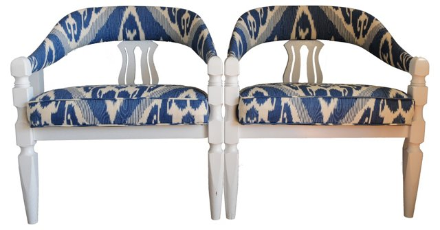 White Lacquered Ikat Armchairs, Pair