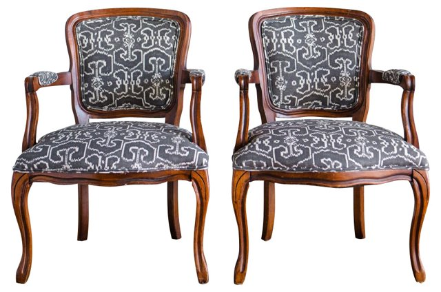 Armchairs w/ Gray-Tone Upholstery, Pair