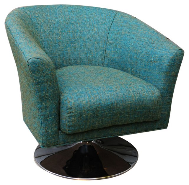 Chrome & Tweed-Style Swivel Chair