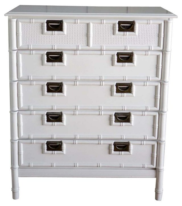 Faux-Bamboo White Lacquered Dresser
