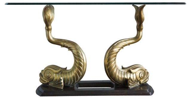 Brass Dolphin Console