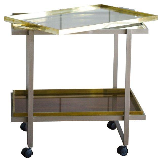 Two-Tone Brass & Chrome Bar Cart