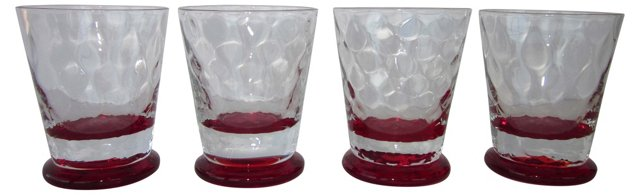Ruby Red Cocktail Glasses, S/4