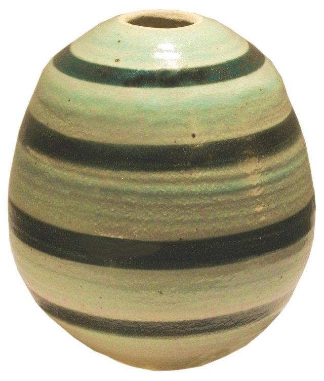 Aqua & Green Pottery Vase