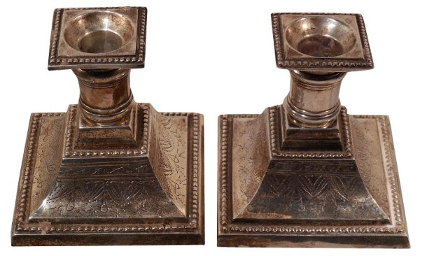 Silver Candleholders, Pair