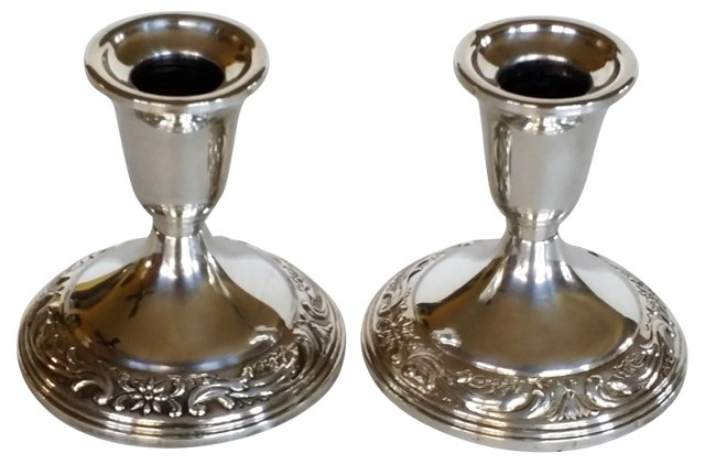 Sterling Candleholders,   Pair