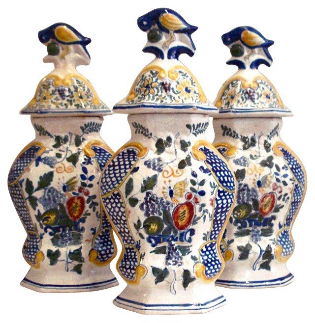 Antique Dutch Lidded Jars, S/3