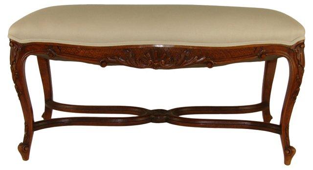 19th-C.  French Walnut Bench