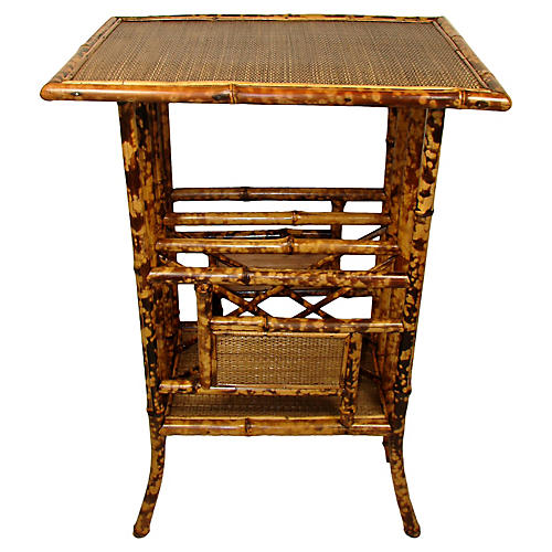 19th-C. Bamboo Canterbury Table
