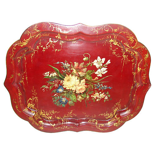 19th-C. Papier-Mâché Tray