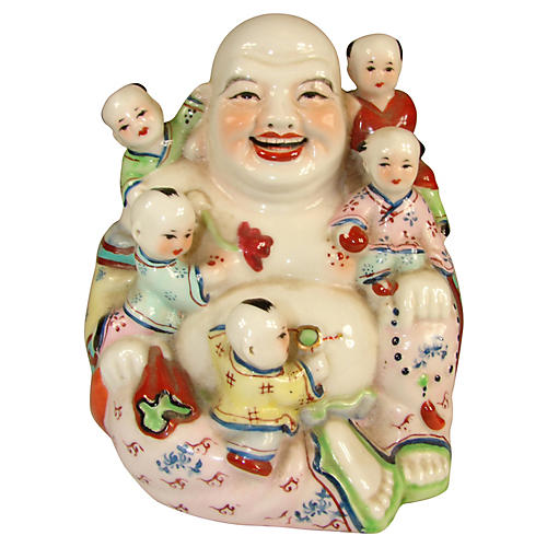 Chinese Buddha & Children Figurine