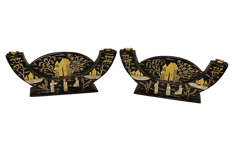 Chinoiserie Candleholders, Pair