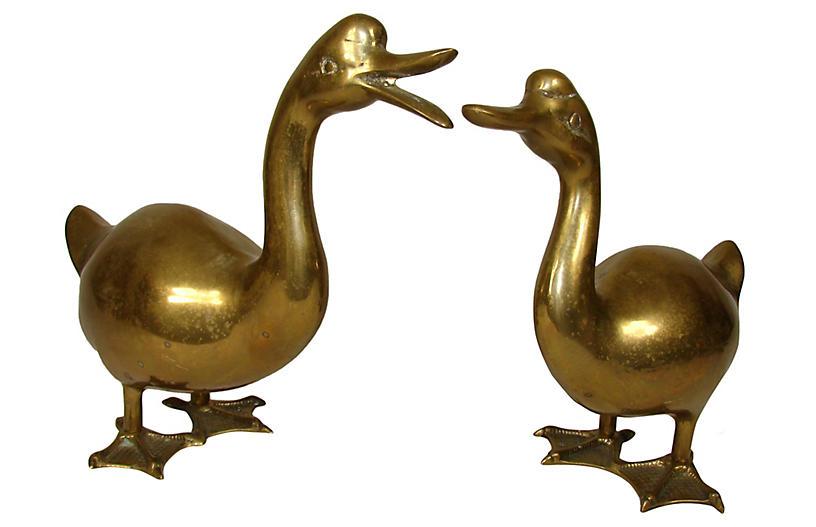 Pair Of Brass Ducks