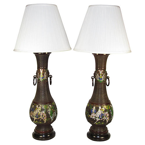 Japanese Champleve Bronze Lamps, Pair