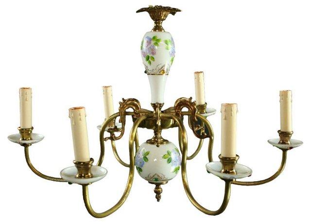 Italian Murano White Glass Chandelier