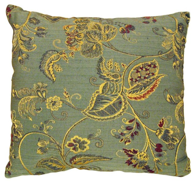 Brocade Pillow w/ Gold Leaves