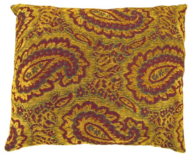 Vintage Tapestry Pillow with Paisleys