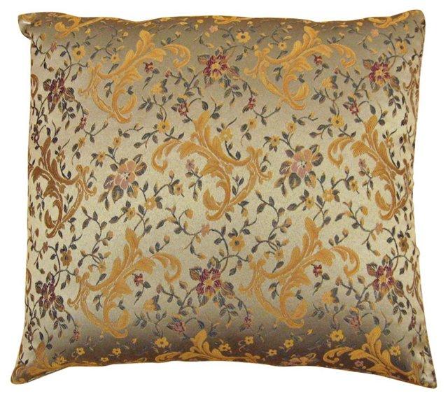 Satin Brocade Pillow with Floral Design