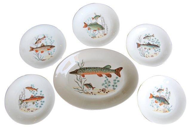 Fish Platter & 5 Plates