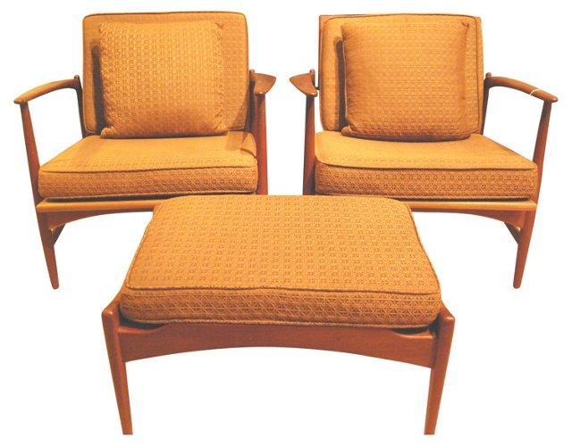 Selig Armchairs & Ottoman, 3 Pcs