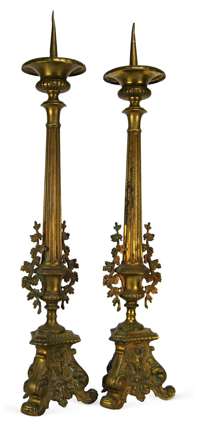 French Cathedral Candlesticks, Pair