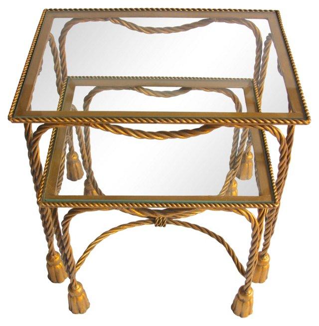 Gilded Tassel-Motif Nesting Tables, Pair
