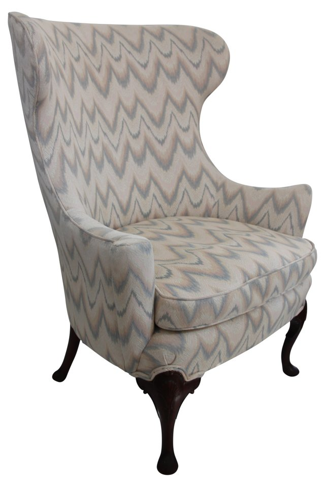 Flamestitch Wingback Chair