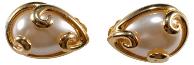 Fendi Faux-Pearl Swirl Earrings