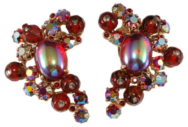 Schiaparelli Red Iridescent Earrings