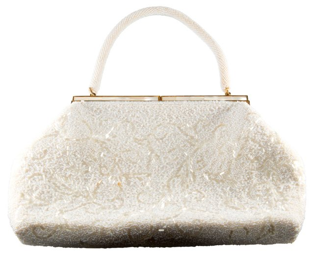 1950s White Beaded Evening Bag