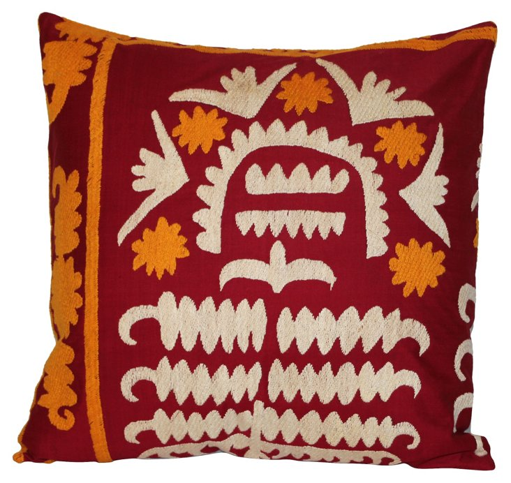 Red Embroidered Suzani Pillow