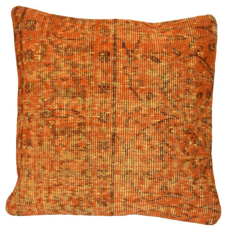Orange  Overdyed Turkish Rug Pillow