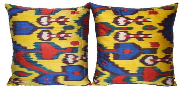 Silk  Ikat       Pillows, Pair