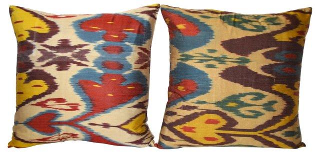 Multicolor  Silk Ikat Pillows,    Pair