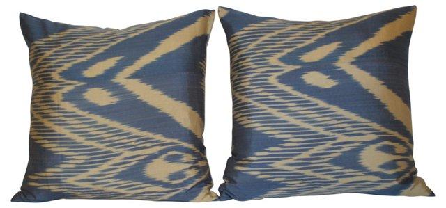Blue   Silk Ikat Pillow, Pair