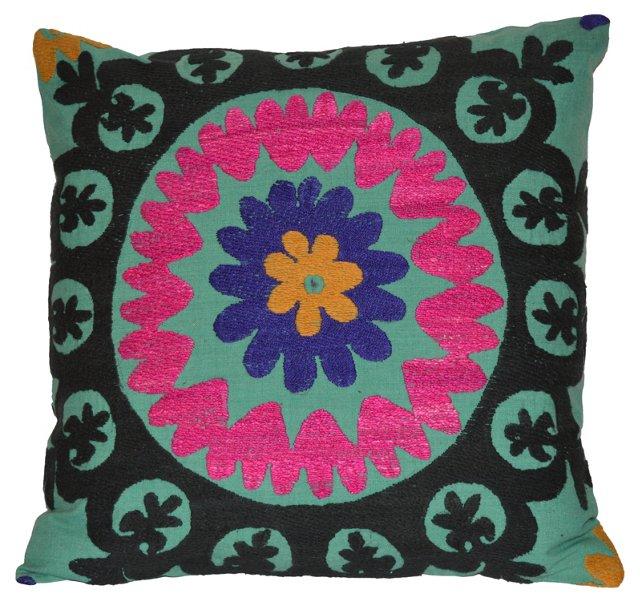 Teal   Uzbek Suzani  Pillow