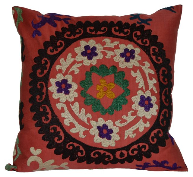 Uzbek  Red   Suzani Pillow