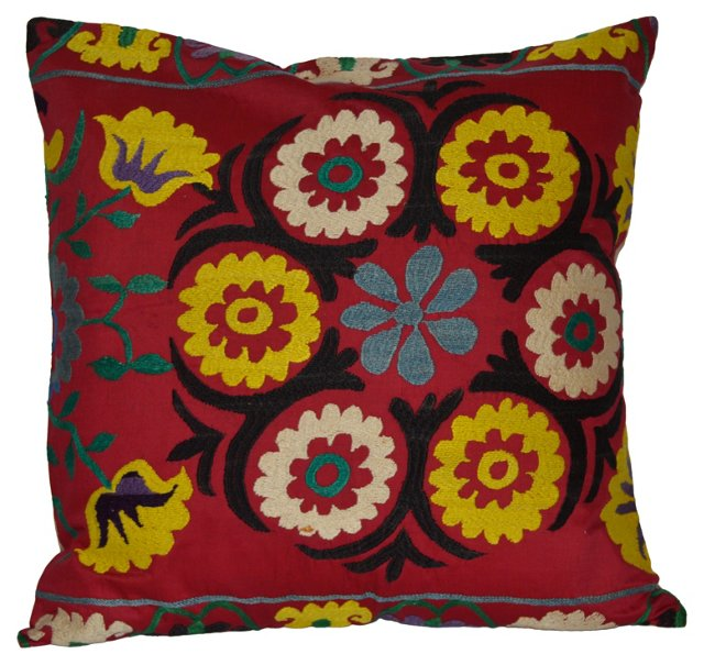 Red Floral Suzani  Pillow