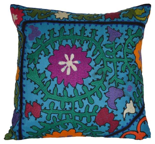 Blue    Uzbek Suzani Pillow