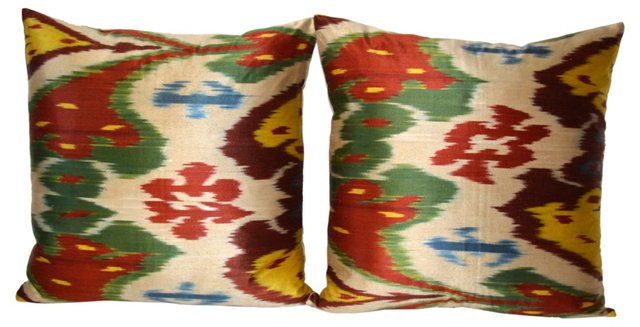 Silk Multicolor  Ikat   Pillows,  Pair