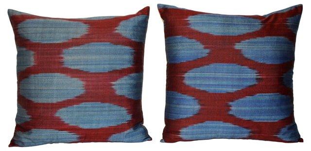 Silk    Ikat   Pillows,  Pair