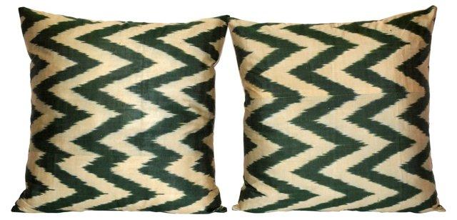 Silk  Ikat Chevron Pillows, Pair