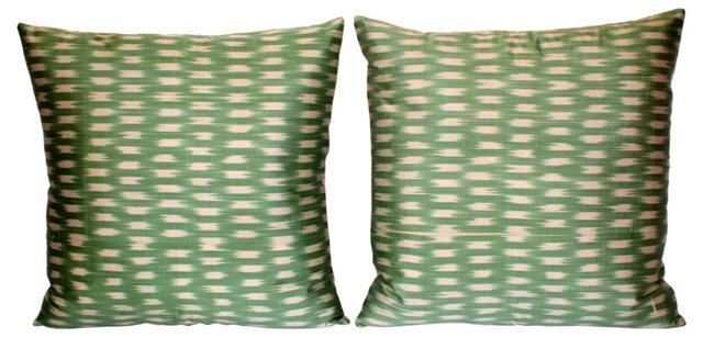 Light Green Silk Ikat    Pillows, Pair