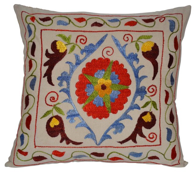Silk   Suzani Floral Pillow