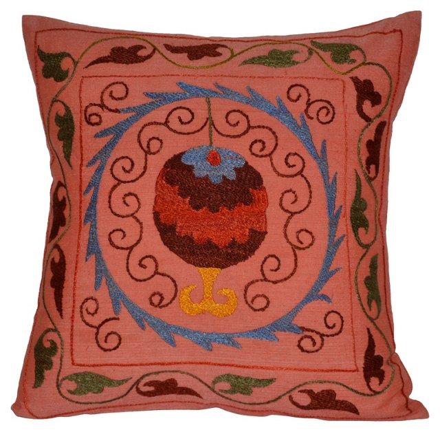Pink Pomegranate Suzani Pillow