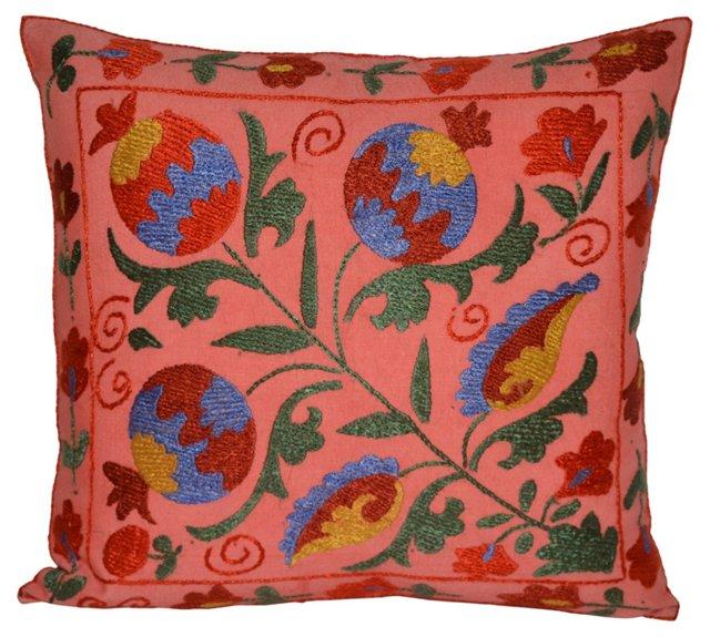 Pink Floral  Suzani Pillow