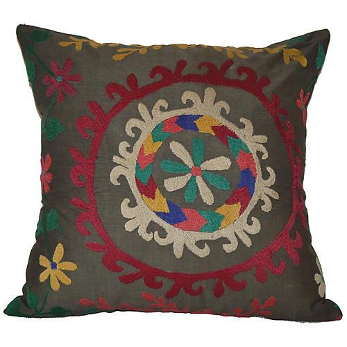 Rainbow Wreath Suzani Pillow