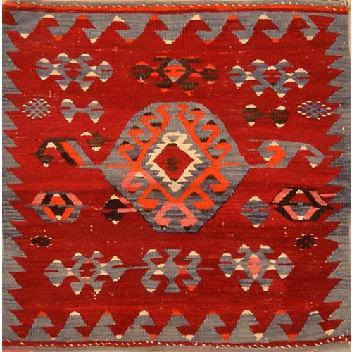 """Turkish Anatolian Kilim, 3'8"""" x 3'8"""""""